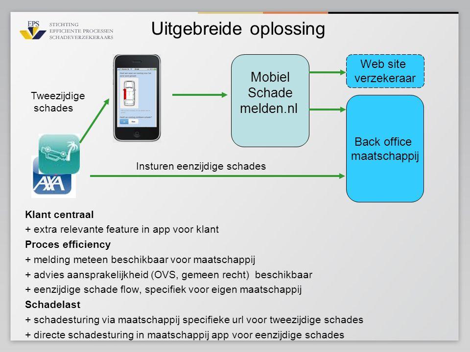 Uitgebreide oplossing Mobiel Schade melden.nl Back office maatschappij Web site verzekeraar Klant centraal + extra relevante feature in app voor klant