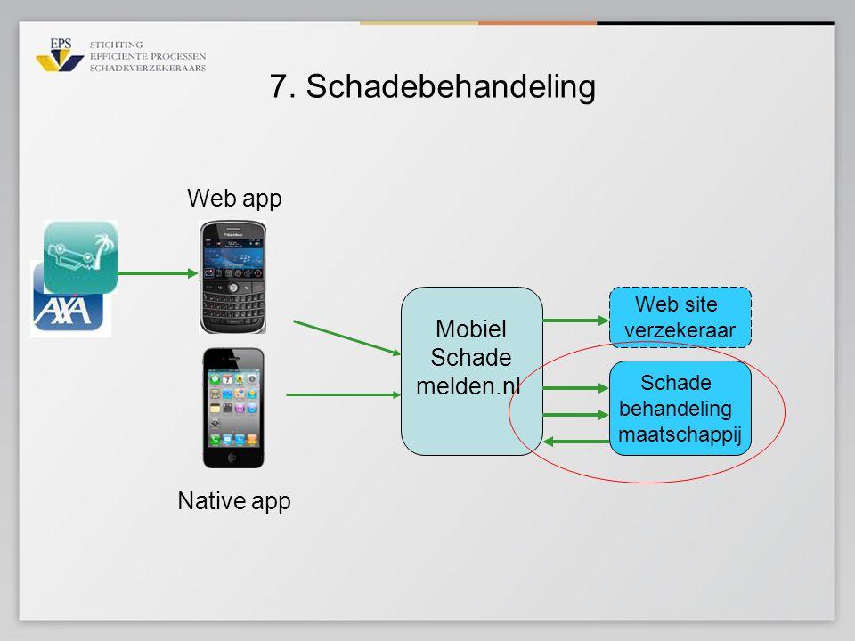 7. Schadebehandeling Mobiel Schade melden.nl Web app Schade behandeling maatschappij Web site verzekeraar Native app