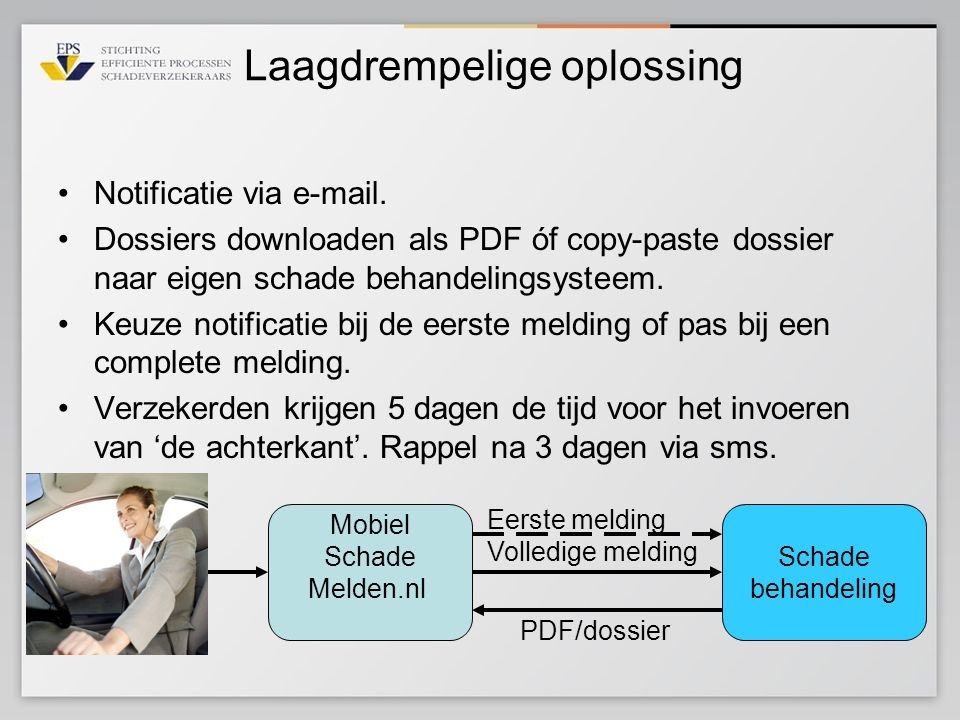 Laagdrempelige oplossing •Notificatie via  .