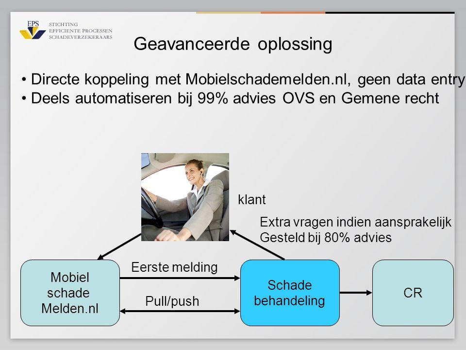 Geavanceerde oplossing Mobiel schade Melden.nl Schade behandeling Eerste melding Pull/push klant • Directe koppeling met Mobielschademelden.nl, geen d