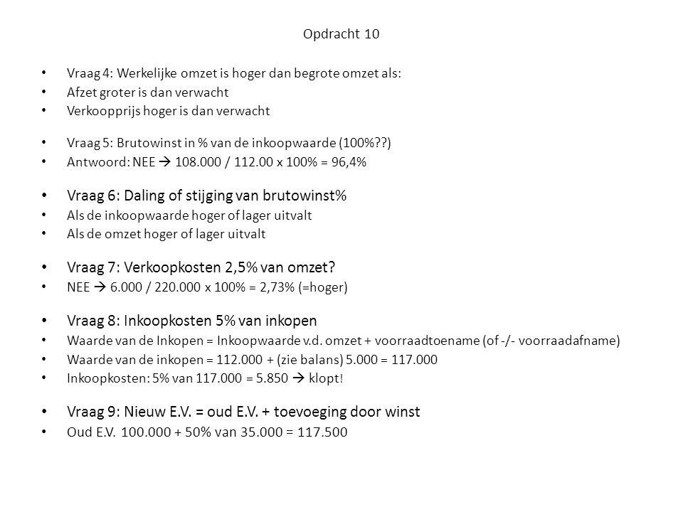 Opdracht 10 • Vraag 4: Werkelijke omzet is hoger dan begrote omzet als: • Afzet groter is dan verwacht • Verkoopprijs hoger is dan verwacht • Vraag 5: