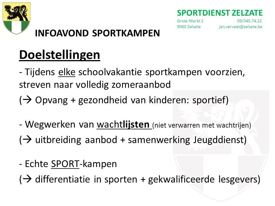 INFOAVOND SPORTKAMPEN Doelstellingen - Tijdens elke schoolvakantie sportkampen voorzien, streven naar volledig zomeraanbod (  Opvang + gezondheid van kinderen: sportief) - Wegwerken van wachtlijsten (niet verwarren met wachtrijen) (  uitbreiding aanbod + samenwerking Jeugddienst) - Echte SPORT-kampen (  differentiatie in sporten + gekwalificeerde lesgevers) SPORTDIENST ZELZATE Grote Markt 1 09/345.74.22 9060 Zelzate jan.vervaet@zelzate.be