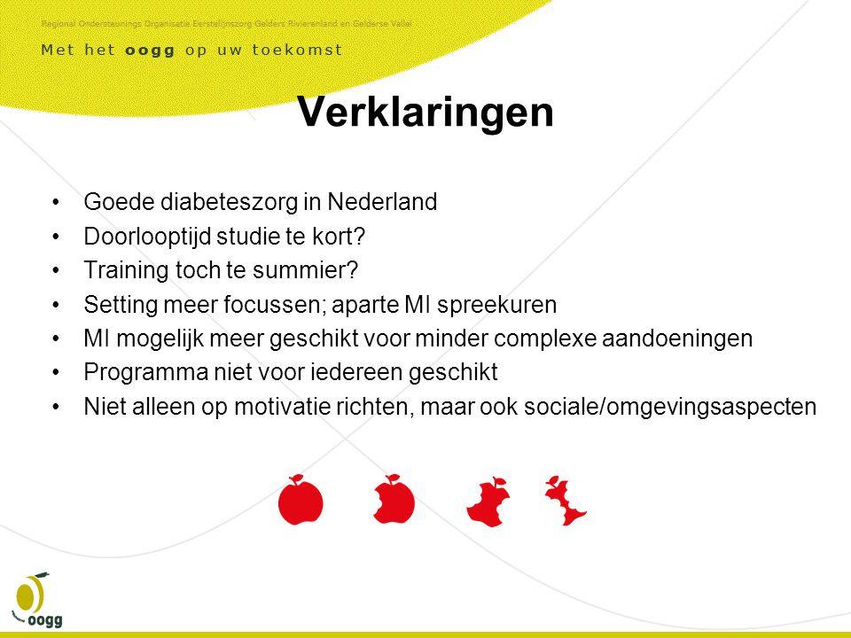 Verklaringen •Goede diabeteszorg in Nederland •Doorlooptijd studie te kort.