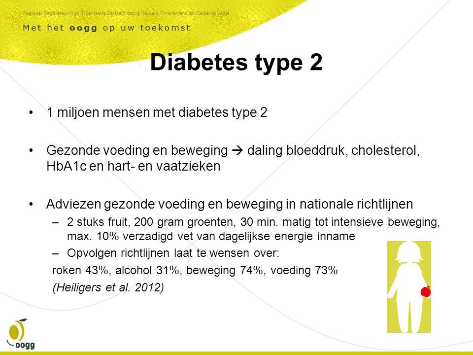 Diabetes type 2 •1 miljoen mensen met diabetes type 2 •Gezonde voeding en beweging  daling bloeddruk, cholesterol, HbA1c en hart- en vaatzieken •Adviezen gezonde voeding en beweging in nationale richtlijnen –2 stuks fruit, 200 gram groenten, 30 min.