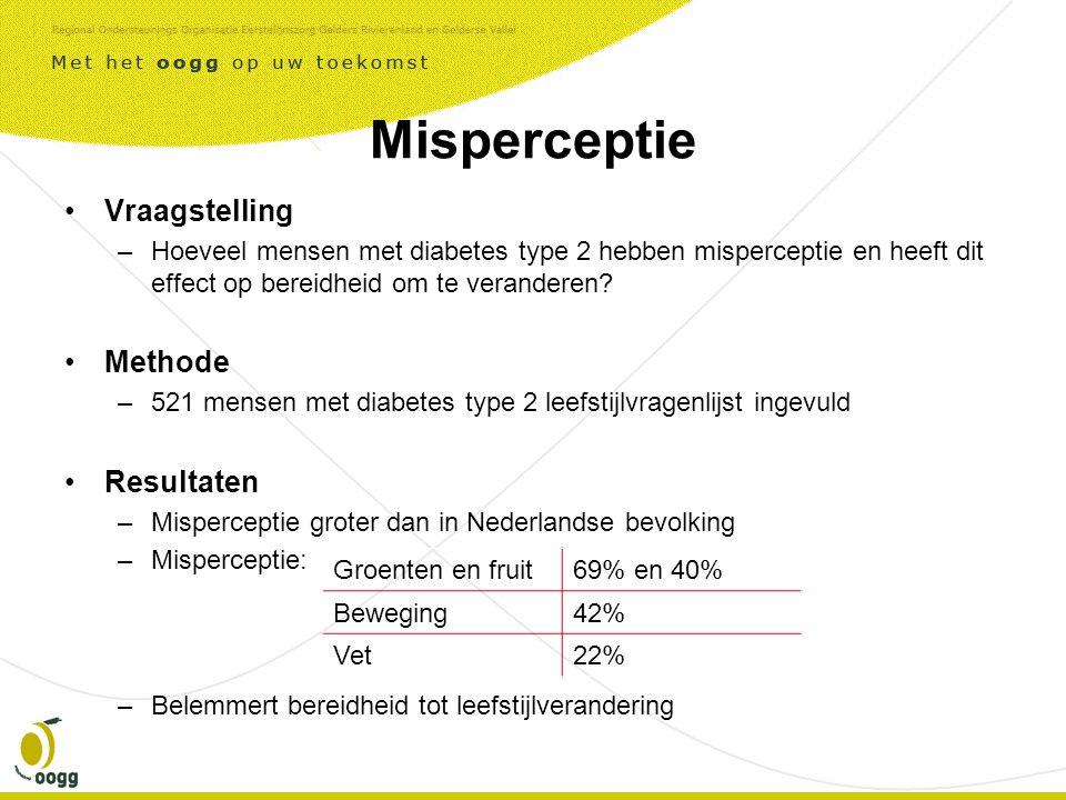 Misperceptie •Vraagstelling –Hoeveel mensen met diabetes type 2 hebben misperceptie en heeft dit effect op bereidheid om te veranderen.