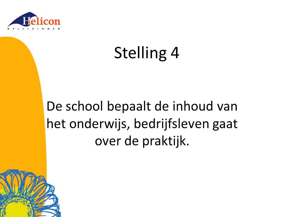 Stelling 4 De school bepaalt de inhoud van het onderwijs, bedrijfsleven gaat over de praktijk.