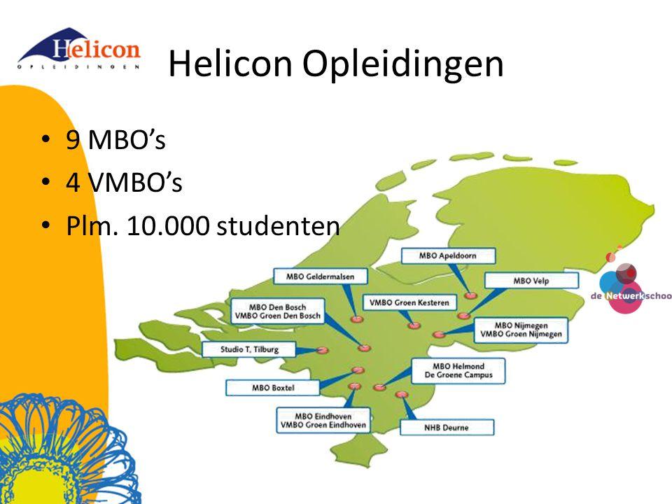 Helicon Opleidingen • 9 MBO's • 4 VMBO's • Plm. 10.000 studenten