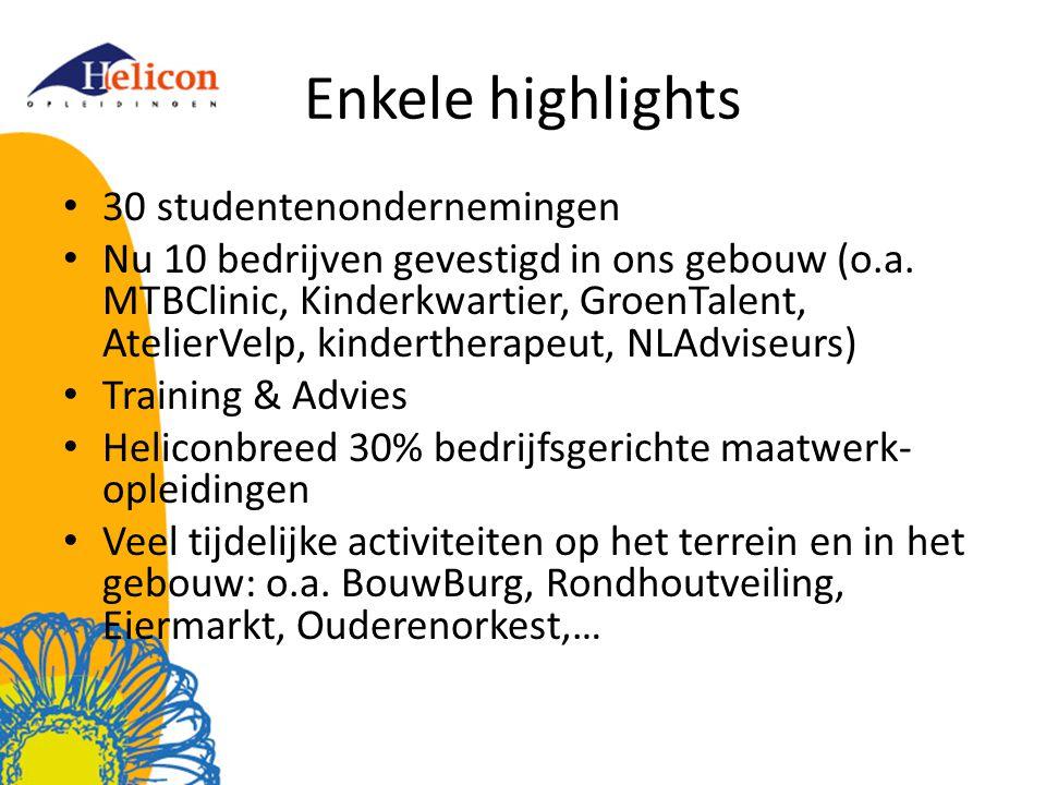 Enkele highlights • 30 studentenondernemingen • Nu 10 bedrijven gevestigd in ons gebouw (o.a.