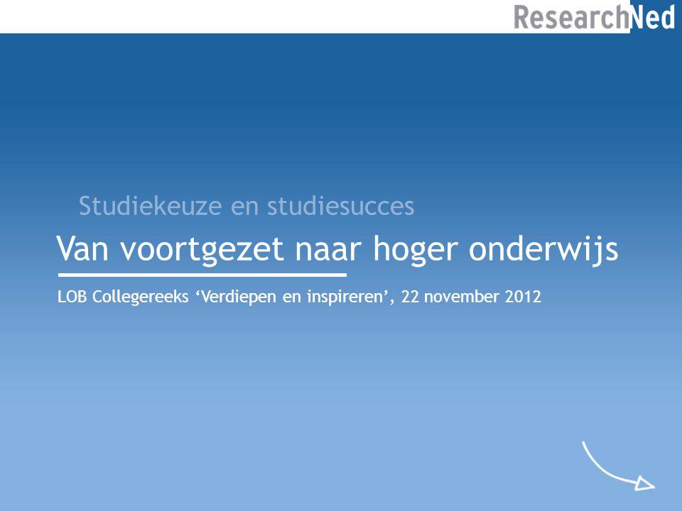 Van voortgezet naar hoger onderwijs LOB Collegereeks 'Verdiepen en inspireren', 22 november 2012 Studiekeuze en studiesucces