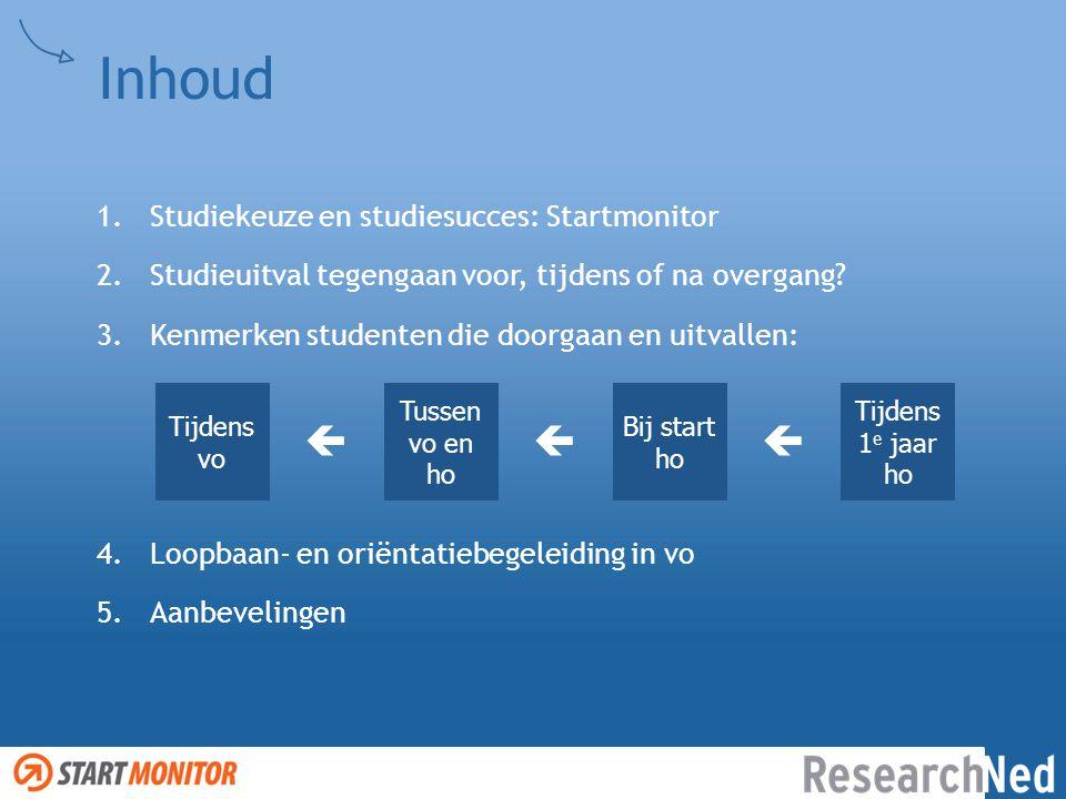 Inhoud 1.Studiekeuze en studiesucces: Startmonitor 2.Studieuitval tegengaan voor, tijdens of na overgang? 3.Kenmerken studenten die doorgaan en uitval