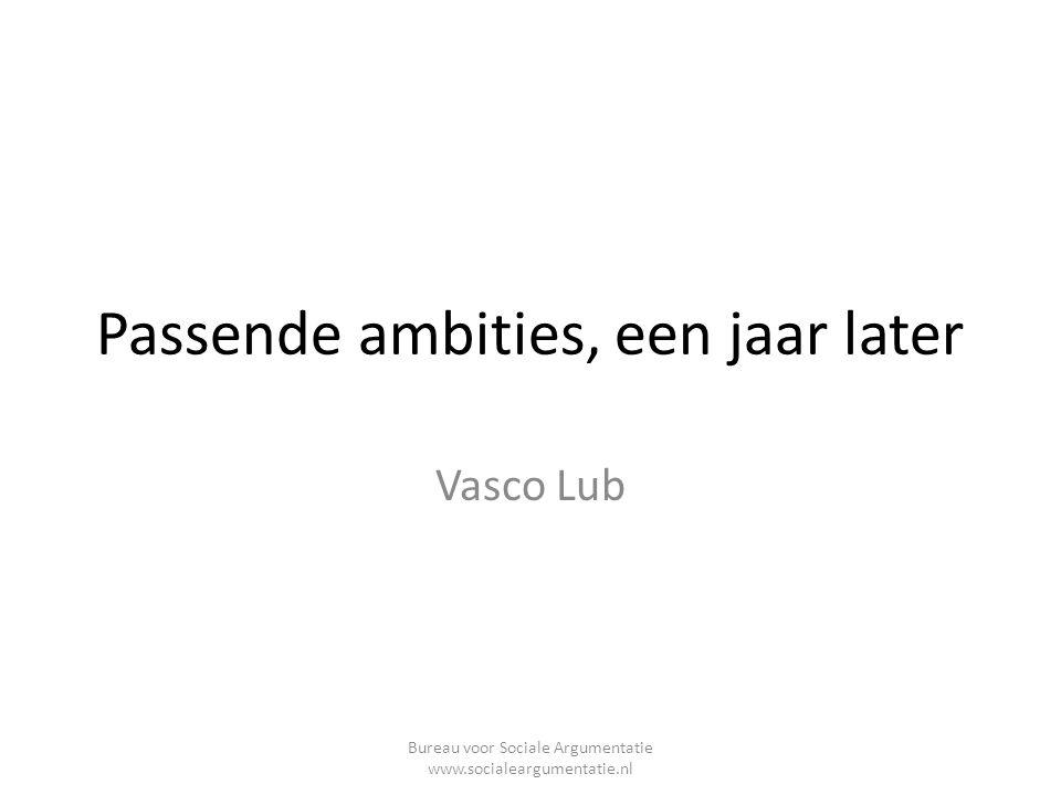 Passende ambities, een jaar later Vasco Lub Bureau voor Sociale Argumentatie www.socialeargumentatie.nl