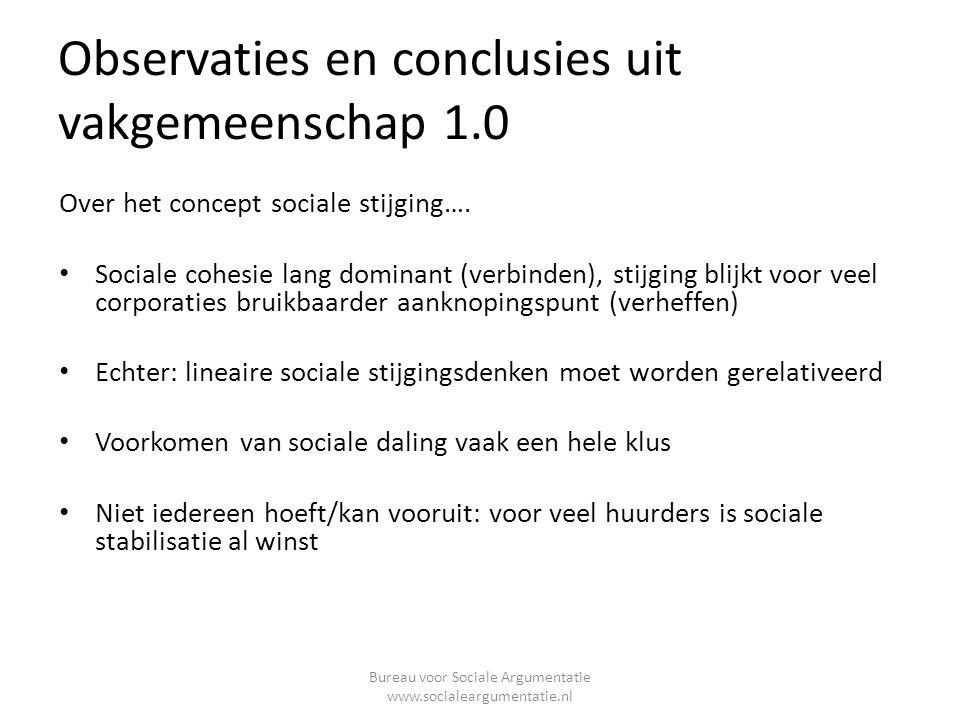 Observaties en conclusies uit vakgemeenschap 1.0 Over het concept sociale stijging….
