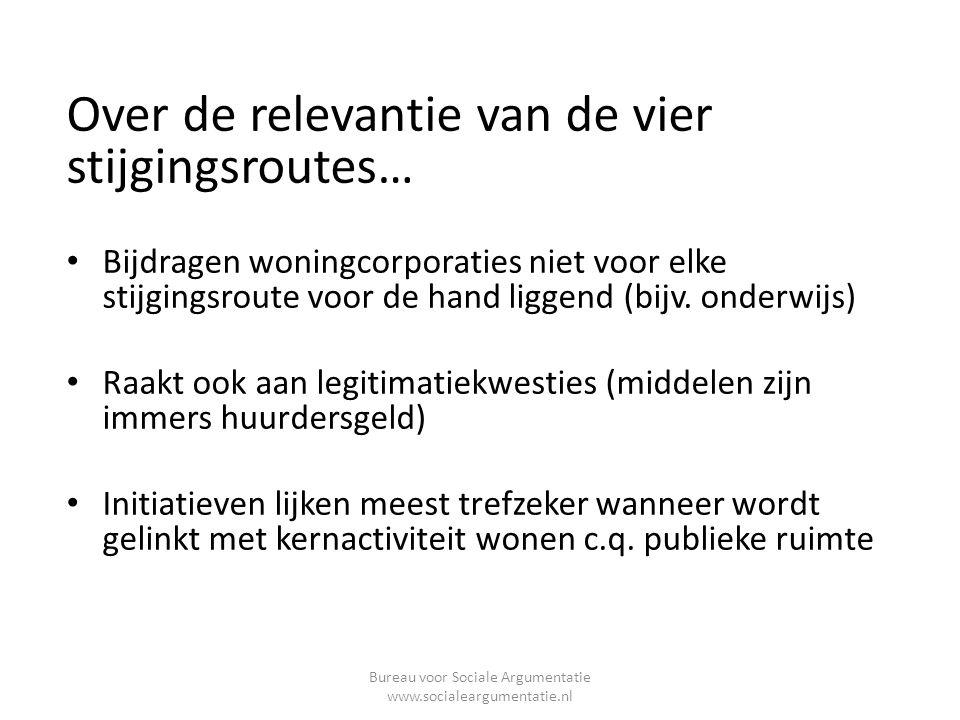 Over de relevantie van de vier stijgingsroutes… • Bijdragen woningcorporaties niet voor elke stijgingsroute voor de hand liggend (bijv.