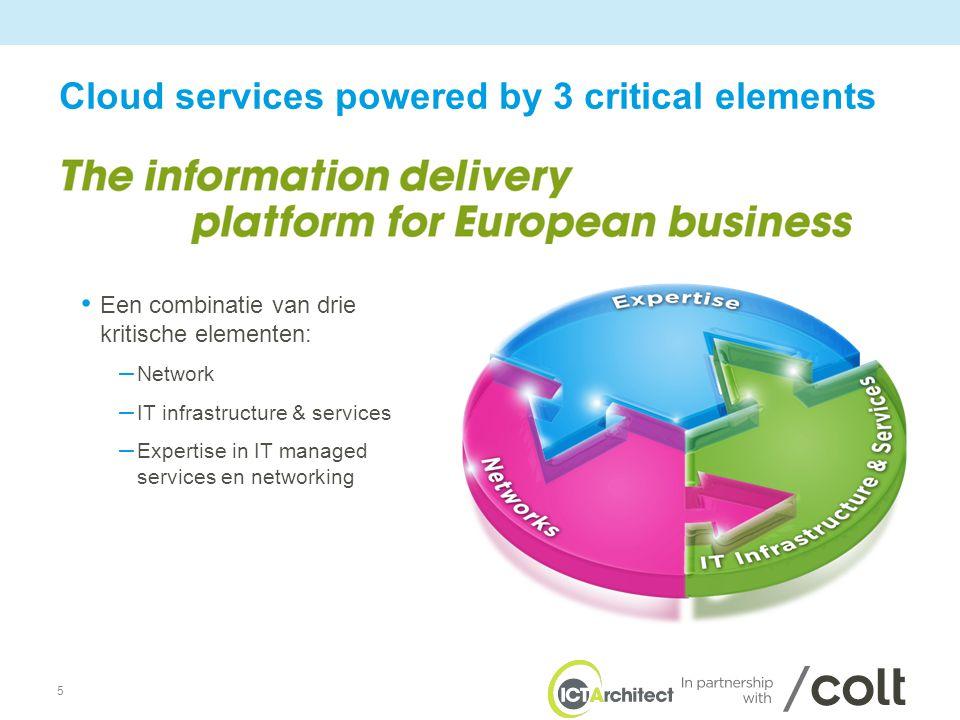 5 Cloud services powered by 3 critical elements • Een combinatie van drie kritische elementen: – Network – IT infrastructure & services – Expertise in