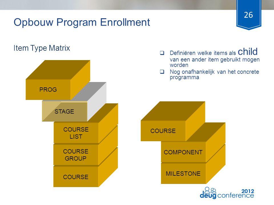Opbouw Program Enrollment  Definiëren welke items als child van een ander item gebruikt mogen worden  Nog onafhankelijk van het concrete programma 2