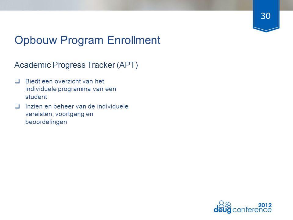 Opbouw Program Enrollment  Biedt een overzicht van het individuele programma van een student  Inzien en beheer van de individuele vereisten, voortga