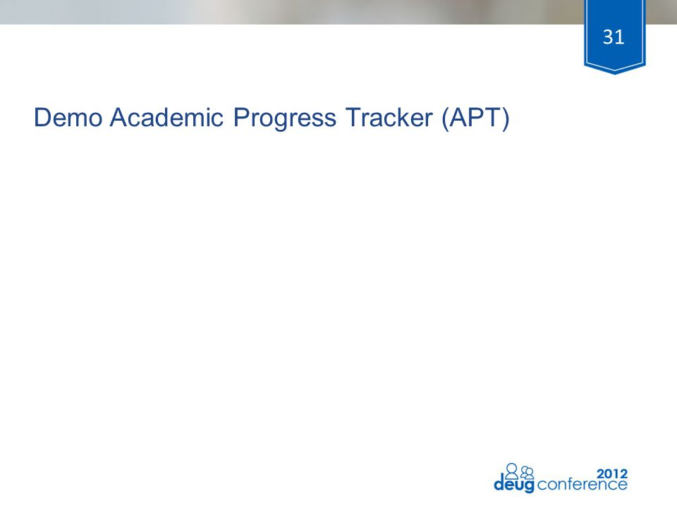 Demo Academic Progress Tracker (APT) 31