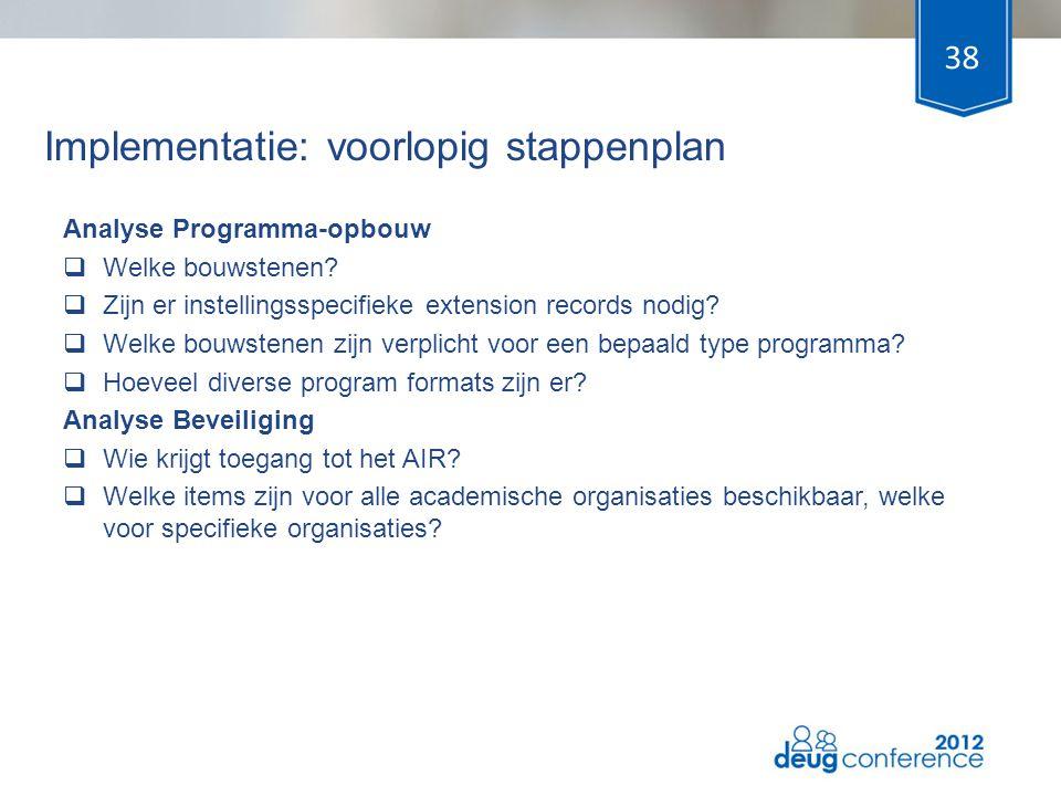 Implementatie: voorlopig stappenplan Analyse Programma-opbouw  Welke bouwstenen?  Zijn er instellingsspecifieke extension records nodig?  Welke bou