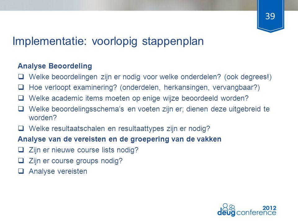 Implementatie: voorlopig stappenplan Analyse Beoordeling  Welke beoordelingen zijn er nodig voor welke onderdelen? (ook degrees!)  Hoe verloopt exam