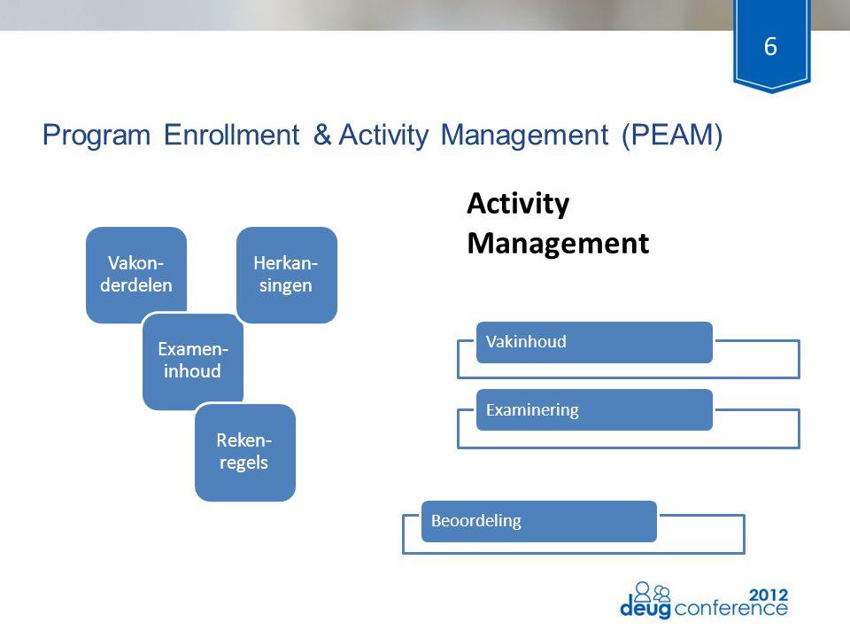 Program Enrollment & Activity Management (PEAM) 6 VakinhoudExaminering Activity Management Vakon- derdelen Examen- inhoud Herkan- singen Reken- regels