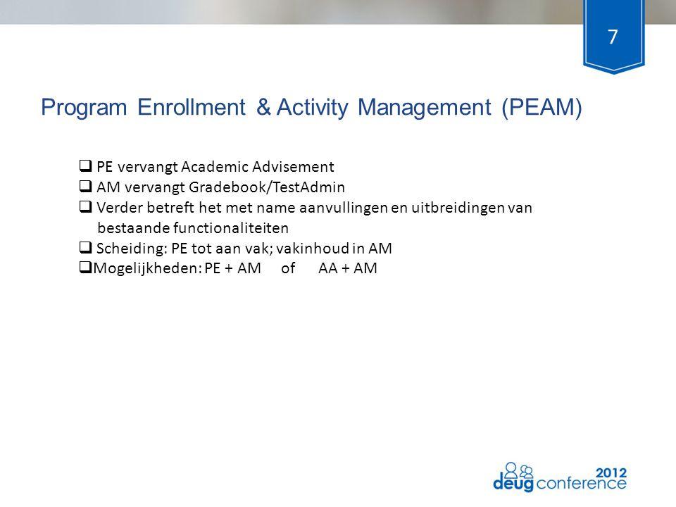 Program Enrollment & Activity Management (PEAM) 7 Herkansin gen  PE vervangt Academic Advisement  AM vervangt Gradebook/TestAdmin  Verder betreft h