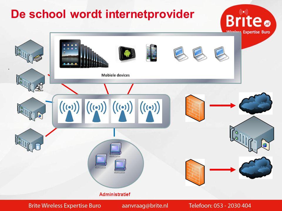 Wireless max. 250 devices in VLAN Elk wireless devices communiceert onderling over de gehele school
