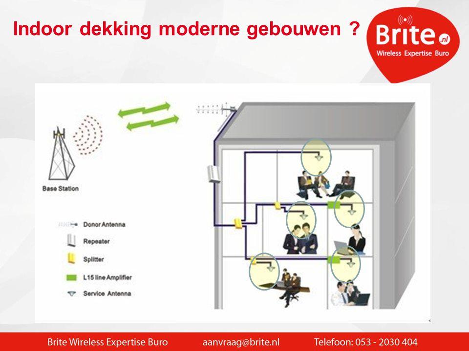 Wifi geeft een betere dekking en bandbreedte:  Met Wifi fijnmazige dekking, overal waar dit gewenst is  Bandbreedte capaciteit naar rato toe te bedelen  Data blijft veilig binnen de organisatie  Meerdere typen verkeer (veilig ) gescheiden mogelijk - intern netwerk - BYOD - Gastverkeer - VOIP - Camera  Toegangsrechten (gekoppeld aan Windows / Radius server) Wifi is vooral indoor oplossing