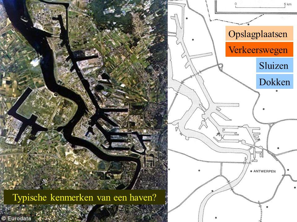 Landschappelijke kenmerken 7 3 2 4 5 6 1 1 Rivier (Schelde) 8 Graanterminal: plaats in een haven speciaal uitgerust voor de snelle behandeling van granen 2 Dok (Amerikadok) 3 Kade + graanzuigers 4 Sluis (Royerssluis) 5 Graansilo 's 6 Zeeschip 7 Binnenschip 8 Spoorlijn + autoweg