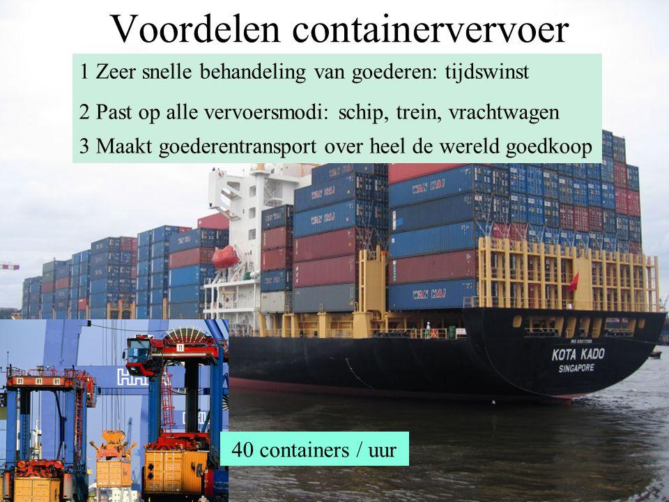 Voordelen containervervoer 1 Zeer snelle behandeling van goederen: tijdswinst 2 Past op alle vervoersmodi: schip, trein, vrachtwagen 3 Maakt goederent