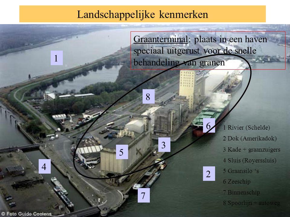 Landschappelijke kenmerken 7 3 2 4 5 6 1 1 Rivier (Schelde) 8 Graanterminal: plaats in een haven speciaal uitgerust voor de snelle behandeling van gra