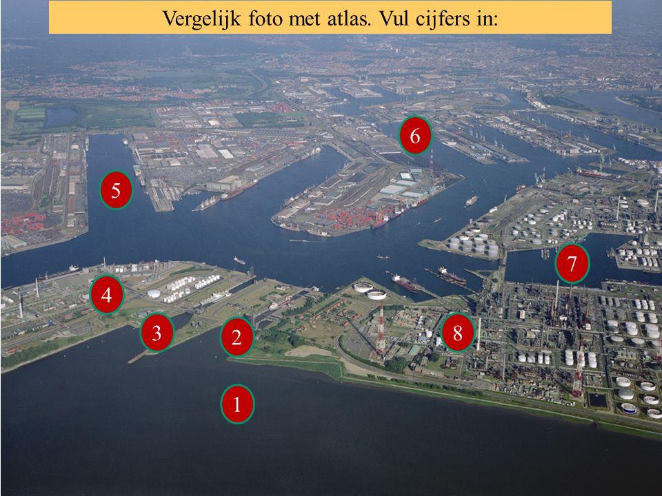 Vergelijk foto met atlas. Vul cijfers in: 1 6 5 4 3 2 8 7