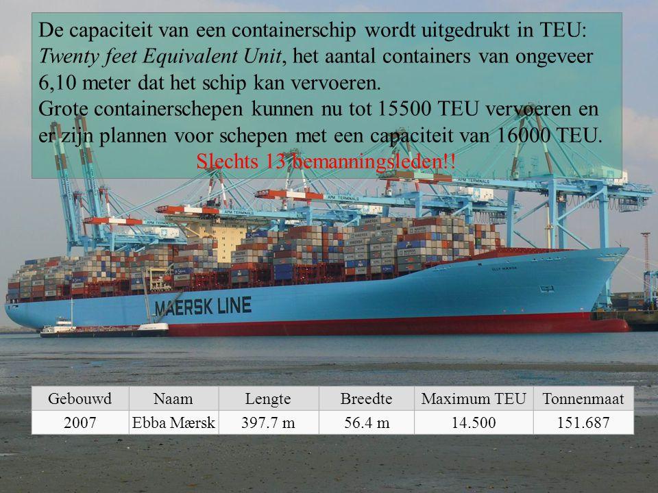 De capaciteit van een containerschip wordt uitgedrukt in TEU: Twenty feet Equivalent Unit, het aantal containers van ongeveer 6,10 meter dat het schip