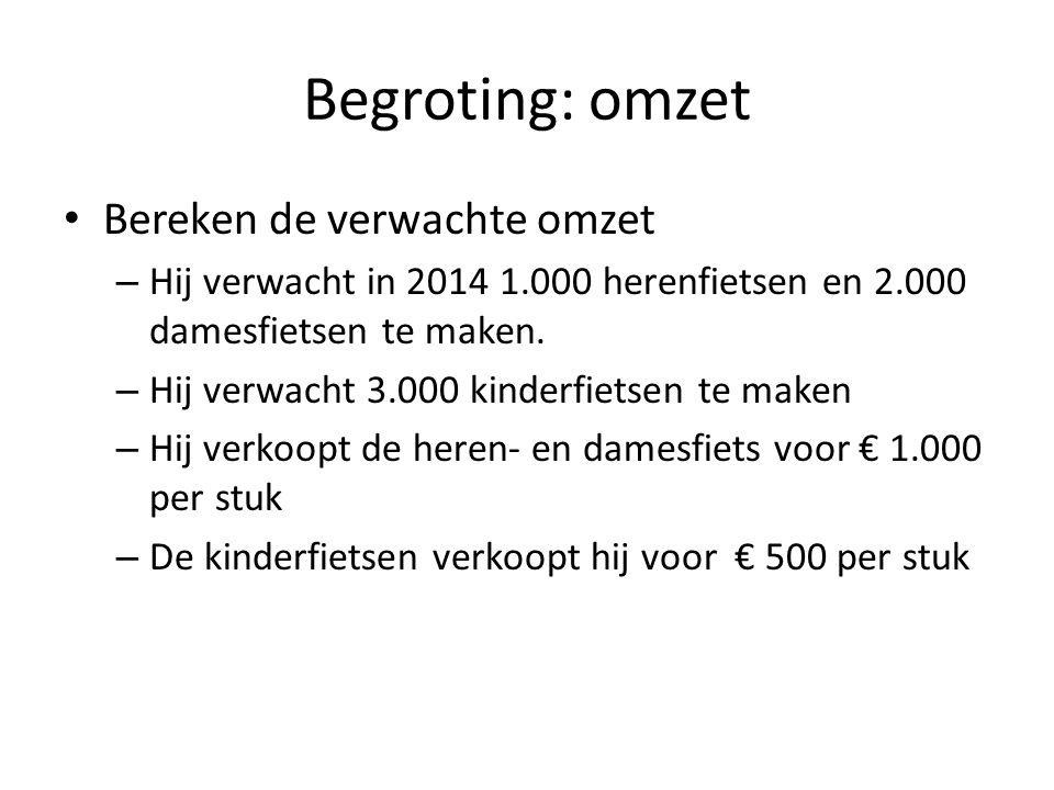 Begroting: omzet • Bereken de verwachte omzet – Hij verwacht in 2014 1.000 herenfietsen en 2.000 damesfietsen te maken. – Hij verwacht 3.000 kinderfie