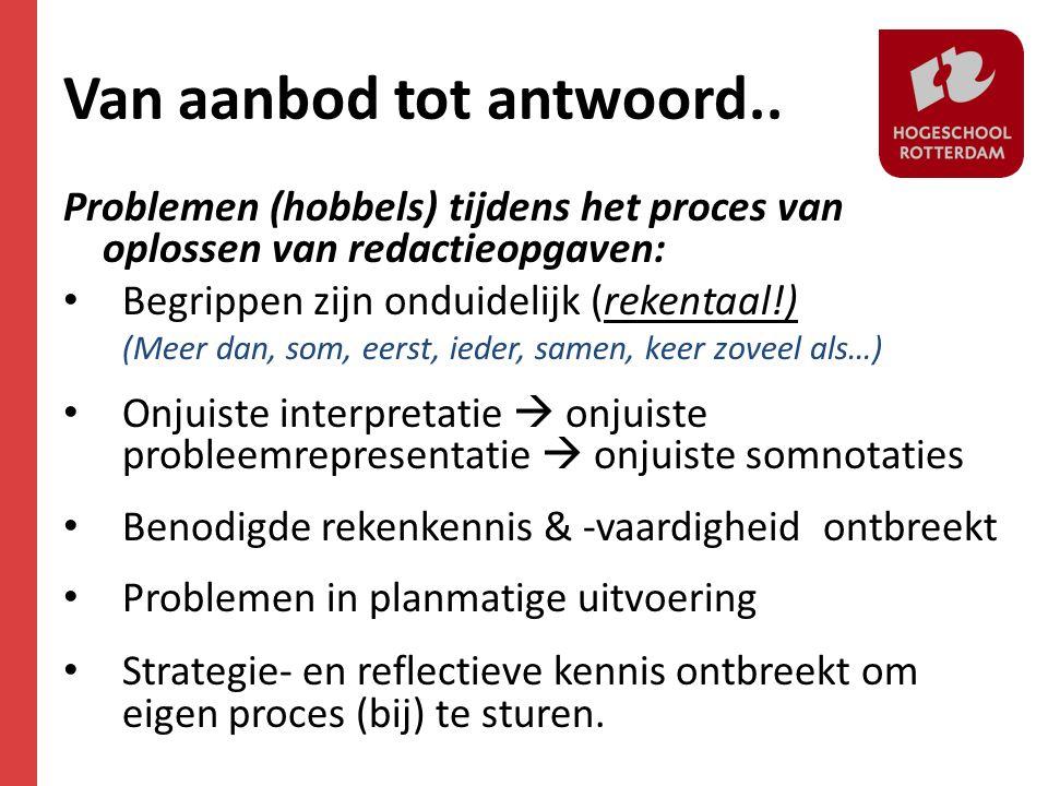 Van aanbod tot antwoord.. Problemen (hobbels) tijdens het proces van oplossen van redactieopgaven: • Begrippen zijn onduidelijk (rekentaal!) (Meer dan