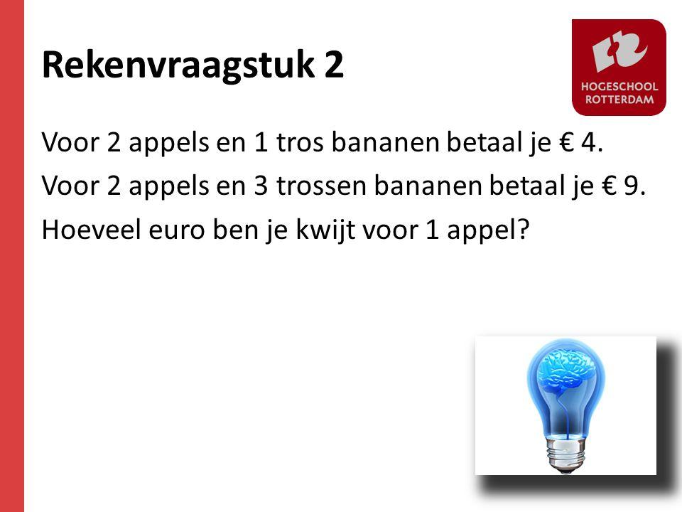 Rekenvraagstuk 2 Voor 2 appels en 1 tros bananen betaal je € 4. Voor 2 appels en 3 trossen bananen betaal je € 9. Hoeveel euro ben je kwijt voor 1 app