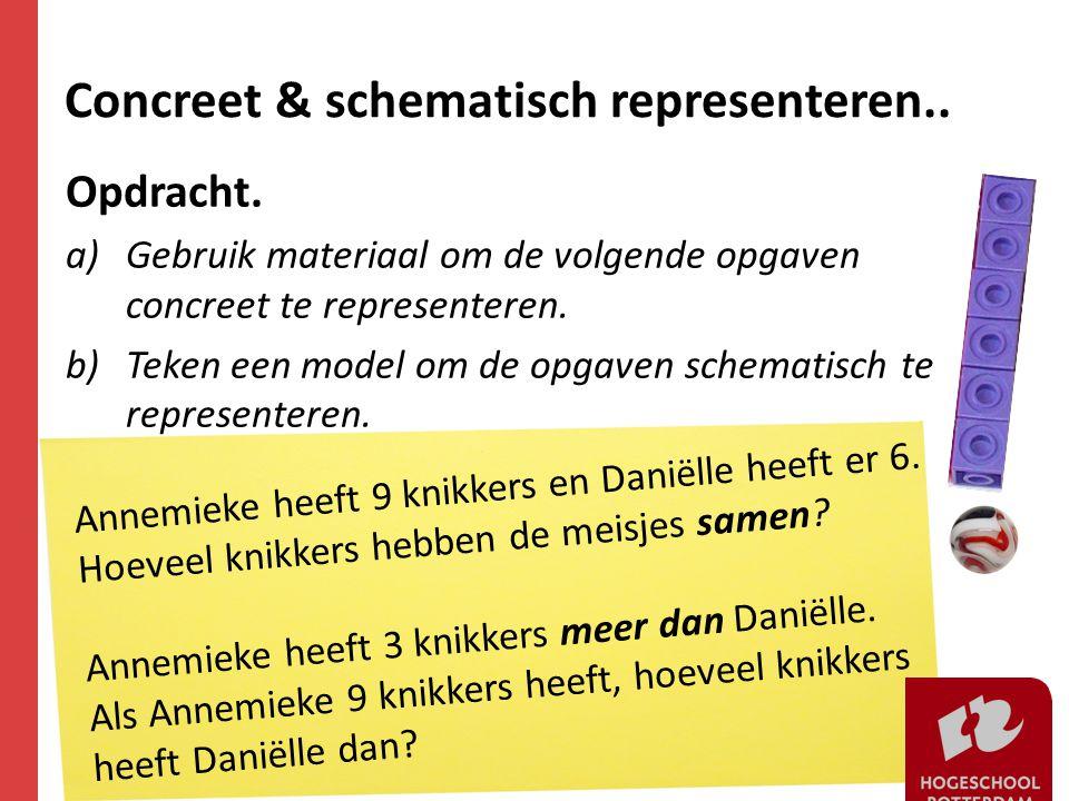 Concreet & schematisch representeren.. Opdracht. a)Gebruik materiaal om de volgende opgaven concreet te representeren. b)Teken een model om de opgaven