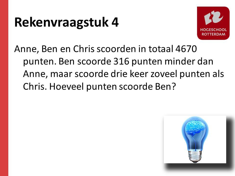 Rekenvraagstuk 4 Anne, Ben en Chris scoorden in totaal 4670 punten. Ben scoorde 316 punten minder dan Anne, maar scoorde drie keer zoveel punten als C