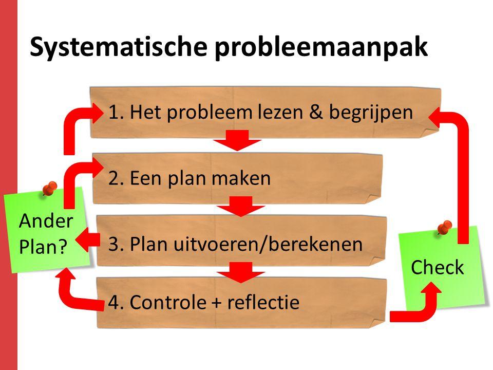 Systematische probleemaanpak 1. Het probleem lezen & begrijpen 2. Een plan maken 3. Plan uitvoeren/berekenen 4. Controle + reflectie Check Ander Plan?