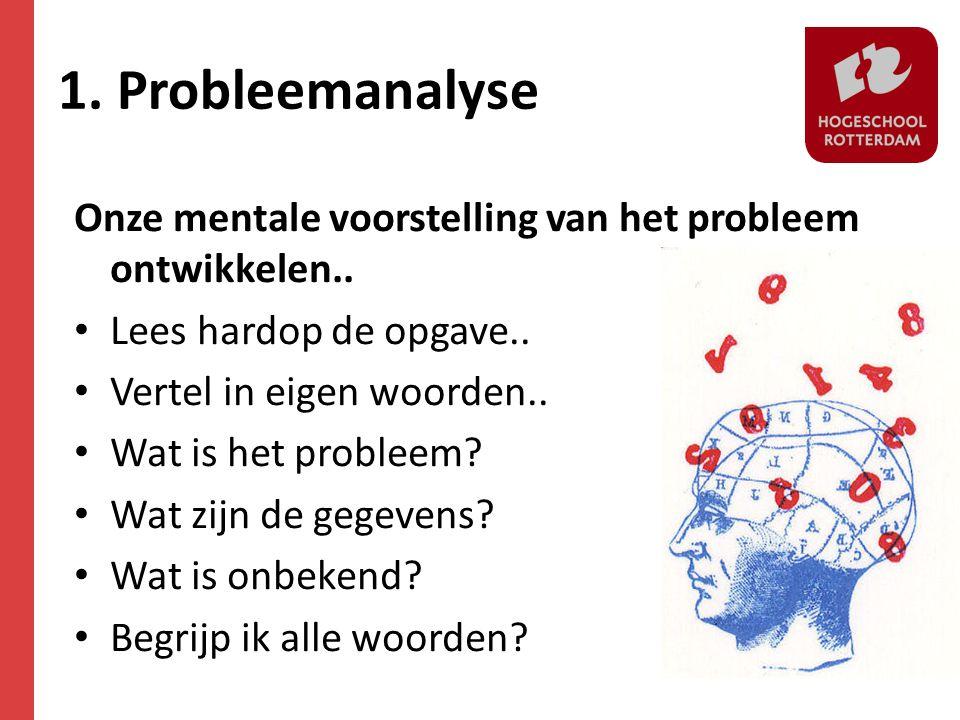1. Probleemanalyse Onze mentale voorstelling van het probleem ontwikkelen.. • Lees hardop de opgave.. • Vertel in eigen woorden.. • Wat is het problee
