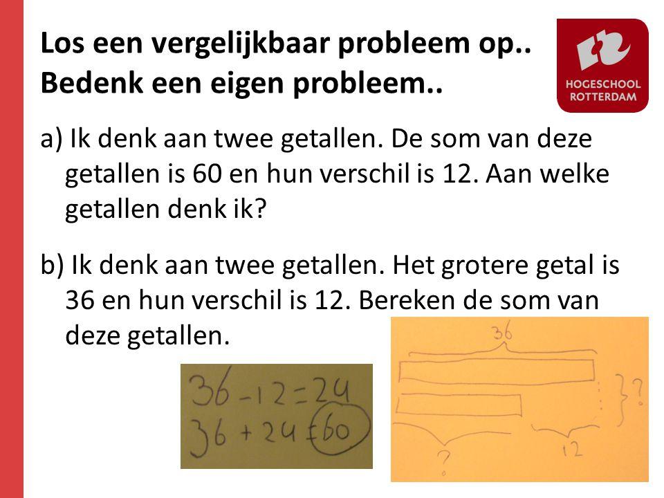 Los een vergelijkbaar probleem op.. Bedenk een eigen probleem.. a) Ik denk aan twee getallen. De som van deze getallen is 60 en hun verschil is 12. Aa