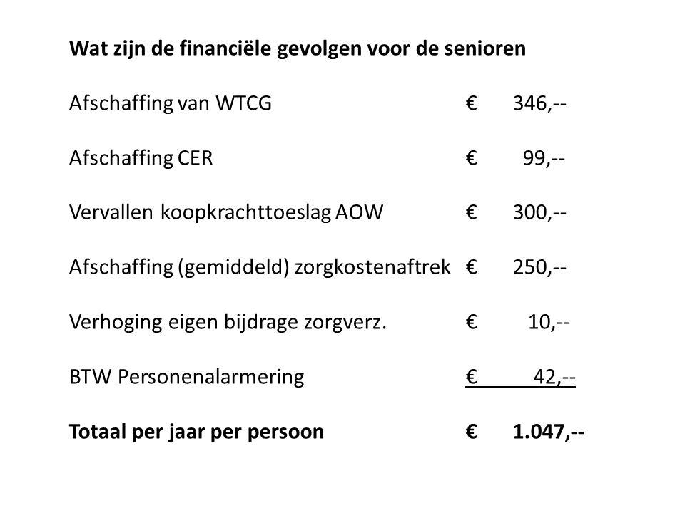 Wat zijn de financiële gevolgen voor de senioren Afschaffing van WTCG€346,-- Afschaffing CER€ 99,-- Vervallen koopkrachttoeslag AOW€300,-- Afschaffing