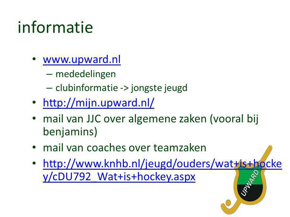 informatie • www.upward.nl www.upward.nl – mededelingen – clubinformatie -> jongste jeugd • http://mijn.upward.nl/ http://mijn.upward.nl/ • mail van J
