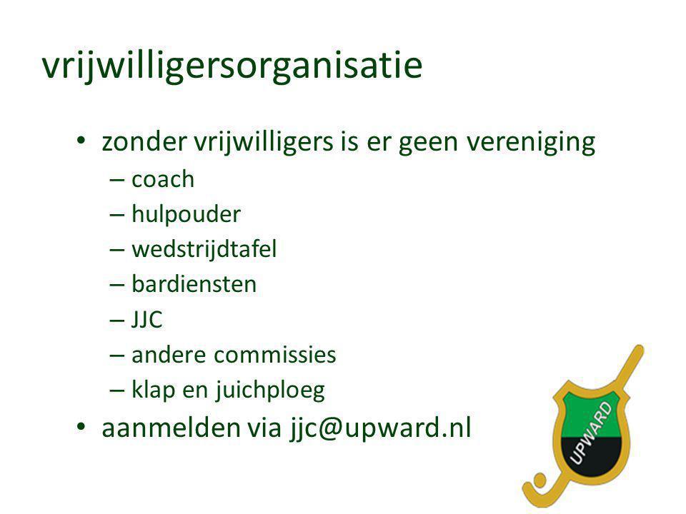 vrijwilligersorganisatie • zonder vrijwilligers is er geen vereniging – coach – hulpouder – wedstrijdtafel – bardiensten – JJC – andere commissies – k