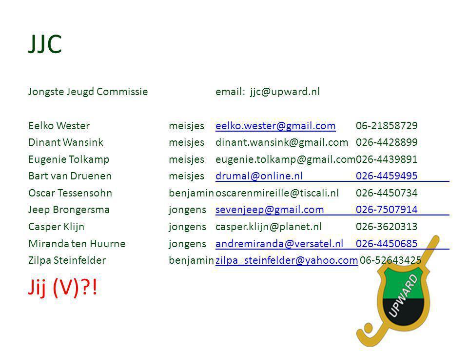 JJC Jongste Jeugd Commissie email: jjc@upward.nl Eelko Westermeisjeseelko.wester@gmail.com06-21858729eelko.wester@gmail.com Dinant Wansinkmeisjes dina