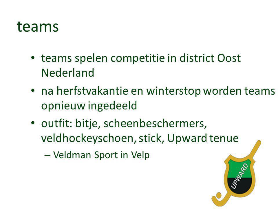 teams • teams spelen competitie in district Oost Nederland • na herfstvakantie en winterstop worden teams opnieuw ingedeeld • outfit: bitje, scheenbes