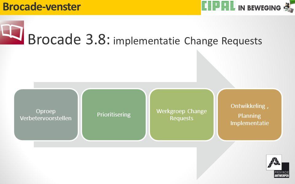Brocade-venster Brocade 3.8: implementatie Change Requests Oproep Verbetervoorstellen Prioritisering Werkgroep Change Requests Ontwikkeling, Planning Implementatie