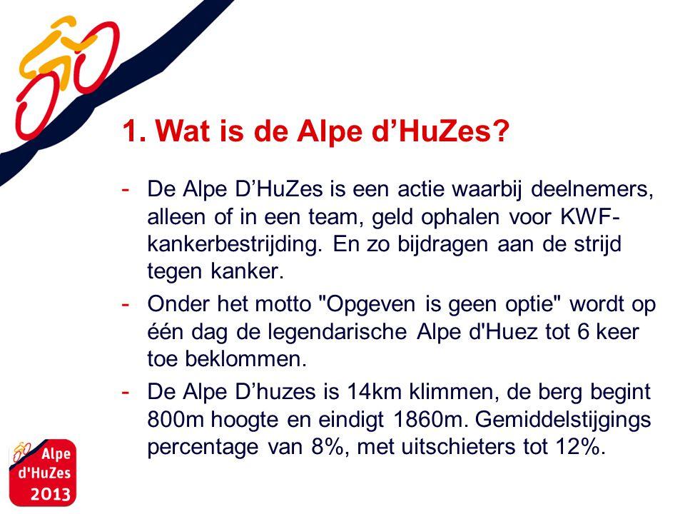 1. Wat is de Alpe d'HuZes? - De Alpe D'HuZes is een actie waarbij deelnemers, alleen of in een team, geld ophalen voor KWF- kankerbestrijding. En zo b