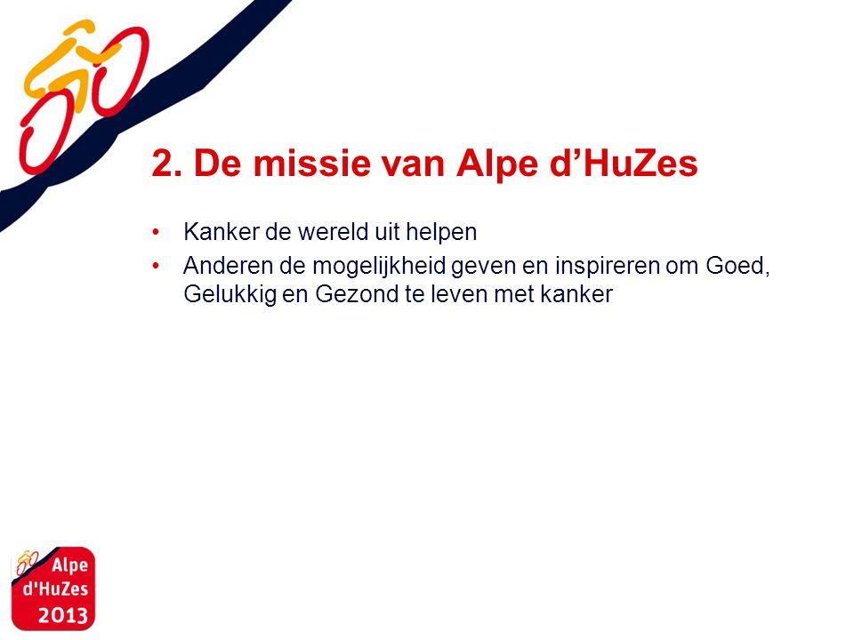 2. De missie van Alpe d'HuZes • Kanker de wereld uit helpen • Anderen de mogelijkheid geven en inspireren om Goed, Gelukkig en Gezond te leven met kan