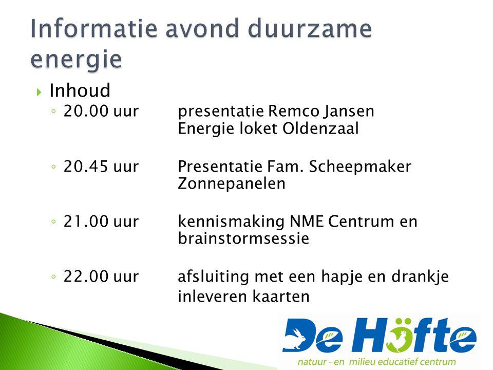  Inhoud ◦ 20.00 uur presentatie Remco Jansen Energie loket Oldenzaal ◦ 20.45 uur Presentatie Fam.