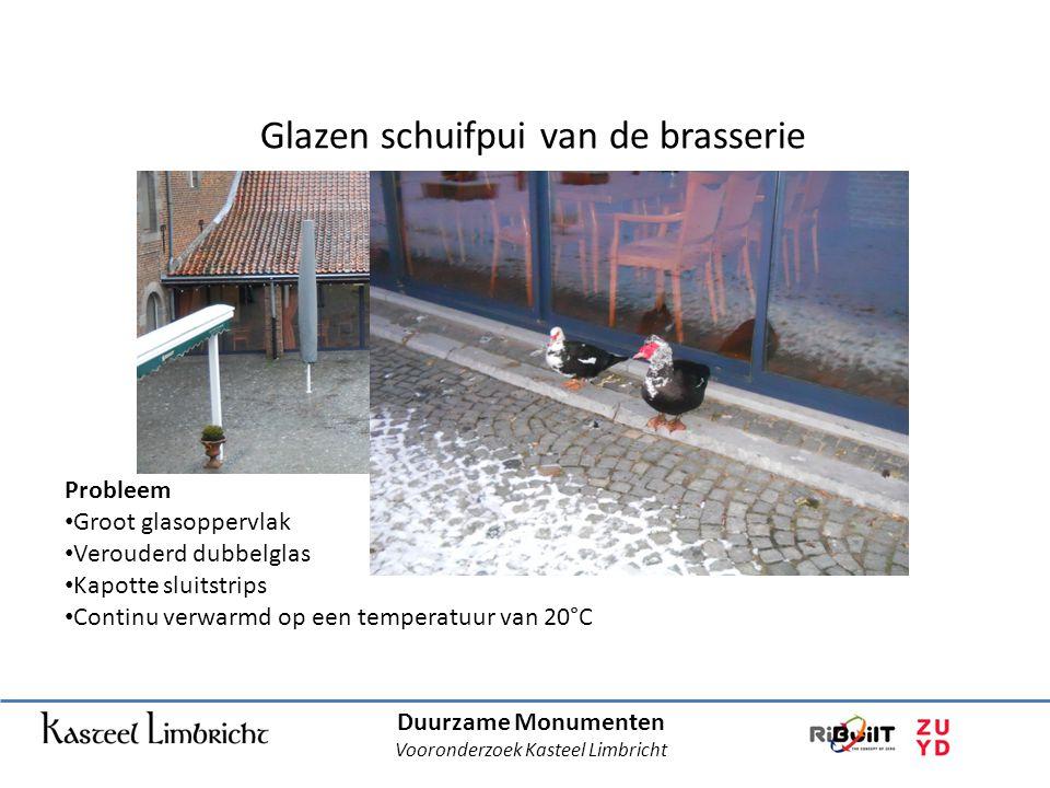 Duurzame Monumenten Vooronderzoek Kasteel Limbricht Glazen schuifpui van de brasserie Probleem • Groot glasoppervlak • Verouderd dubbelglas • Kapotte sluitstrips • Continu verwarmd op een temperatuur van 20°C